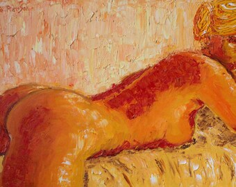 Woman Nude Painting-  Original Oil Painting , Portrait Woman Oil on canvas Sexy painting by Pierre Massin-Pierson Expressionist