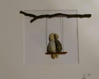 "3D image with ""Lovers on swing"" PebbleArt"