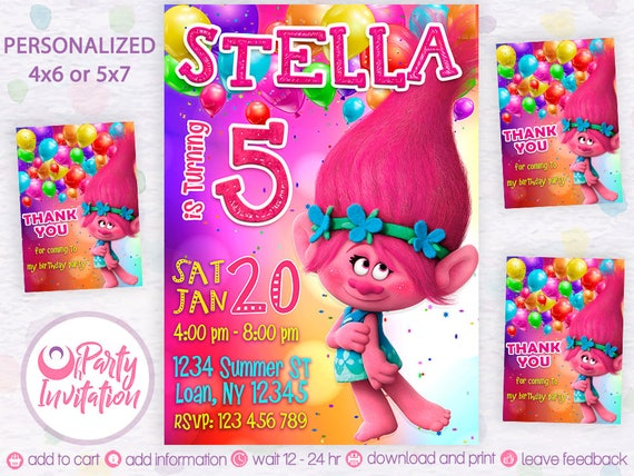 Trolls invitation and free thank you cards troll birthday il570xn filmwisefo