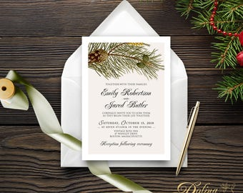 Forest Wedding Invitation Rustic Wedding Printable Invite Outdoor Wedding Forest Green Pine Invitation Pinecone Invitation Country Wedding