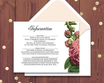 Floral Wedding Information Cards Garden Wedding Printable Detail Cards Template Rustic Flowers Hollyhock Editable Direction Cards Info Cards