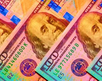 The Three Bens color photo, Money Photography, 100 dollar bill, Money art, Money photo, Poster, Modern art, Fine art, Digital download