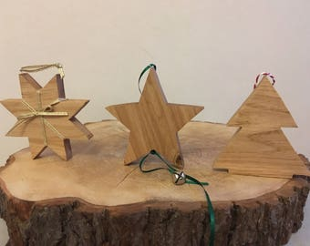 Set of three Solid Oak Christmas decorations Star, Snowflake, and Tree. Handmade wooden.