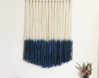 Large Navy Blue dip dye chunky yarn wall hanging