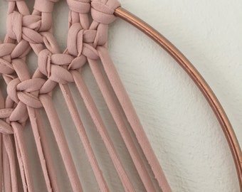Pink and copper metal hoop Macrame dreamcatcher home decor rose gold