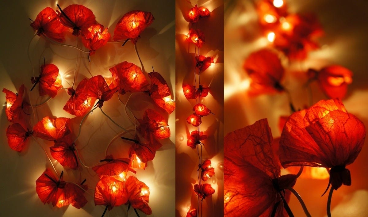 guirlande lumineuse 20 coquelicots en papier de soie rouge. Black Bedroom Furniture Sets. Home Design Ideas