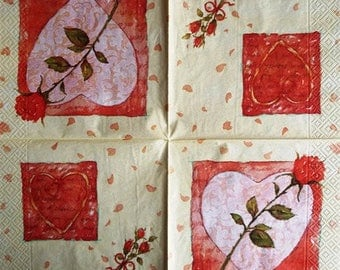 PAPER TOWEL Rose and heart #F063