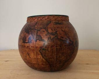 Vintage Italian Leather Old World Map Globe  Green Glass Jar Made in Italy