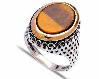 Sterlig Silver Tiger Eye Mens Ring
