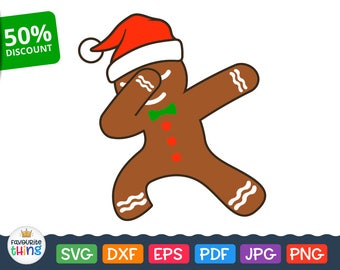 Dubbing Gingerbread man Svg Christmas cut file for Cricut, Silhouette, Download Gingerbread Men in Santa Cap clip art Png Pdf Jpg Eps Dxf