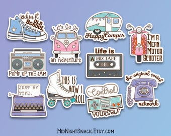 Retro Sticker Pack | 90s Nostalgia Vinyl Sticker Pack | Grunge Stickers | Old School Decals | 90s Kid Gift | Gift for Hipster | Gift for Her