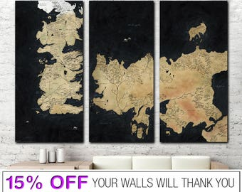 Game of Thrones canvas, Game of Thrones, Map of The Westeros, Westeros, GoT canvas, Westeros Map, GoT wall art, GoT print, Winter is coming