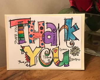 Hand made, hand painted thank you card