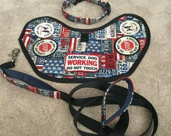 Patriotic Service Dog Vest and Matching Leash Collar Set