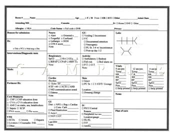 Nurse's report sheet
