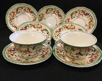 Vintage Booths Silicon China|Teacups and Saucers|Verona Pattern|English Teacups