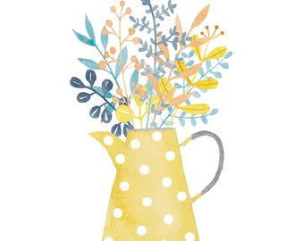 No 34 card ' fine birthday! ' with cheerful bunch of flowers in yellow-with-white-dots can