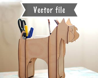 Dog shelf vector file, Table organiser vector, Dog shelf cutting file, Schnauzer shelf svg, 3D laser file, Children gift vector dxf