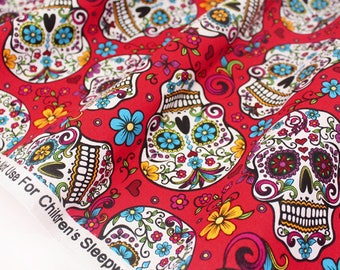 Fabric skulls Mexican American Red floral x 50cm