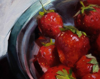 Original Strawberries Painting, Still life, Original Art,  8x8 in