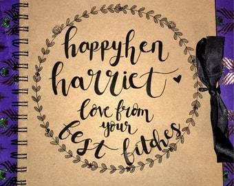 Custom hen party scrapbook / birthday scrapbook hand drawn, personalised, hen do