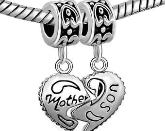 Sterling Silver Heart Mother Son Charm Beads Fits Pandora Bracelet Mom Love