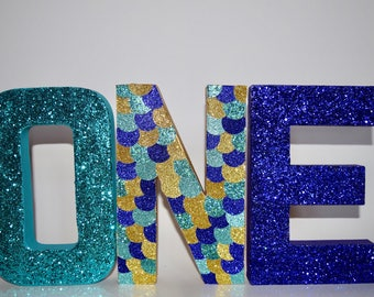 Mermaid glitter standing ONE letters - Party Decor- First birthday - Under the Sea- Mermaid - Mermaid Party- Decorations