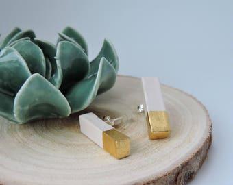 Daystar, ceramic earrings gold-plated 22K; gift