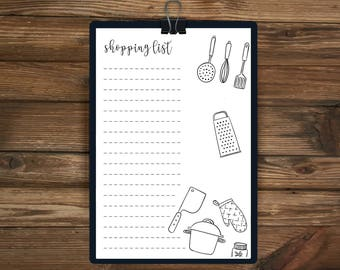Printable Shopping List, Food, Organised, Daily Planner, A4 Daily planner, Printable Planner, 2017, Shopping Planner, Shopping List
