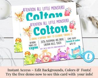 Little Monster Invitation, Monster Invitation, Kids Birthday Invitation, Template, Printable DIY, Instant Download, Birthday Invite