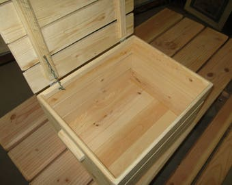 Natural Wooden Crate Storage Box with Lid