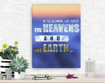 Genesis 1: 1 Canvas; Scripture Art Gifts