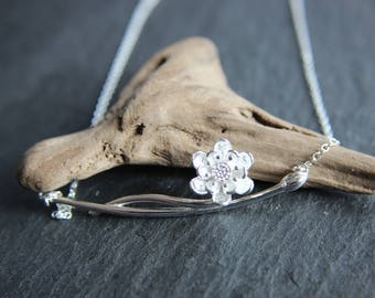 Chain of 925 silver chain necklace flower with branch