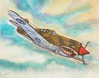 "Bomber Plane 14""x11"" Watercolor Painting Digital Download"