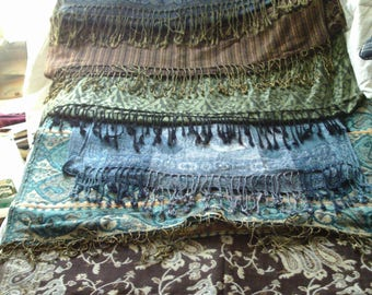 Pashmina and silk scarf lot, 7 gorgeous scarves, vintage scarf, shawl