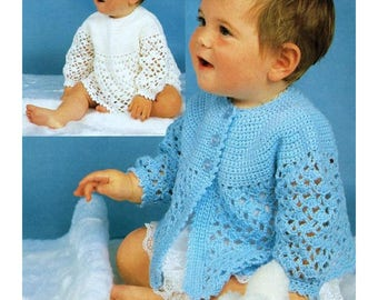 Baby Angel Top and Matinee Coat, Crochet Pattern, Instant Download.