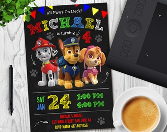 Paw Patrol, Paw Patrol Invitation, Paw Patrol Birthday, Paw Patrol Party, Paw Patrol Birthday Invitation, Paw Patrol Boy Invitation