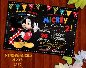 Mickey Mouse Invitation, Mickey Mouse Clubhouse Invitation, Mickey Mouse Invitation, Mickey Invitation, Mickey Mouse Invite, Mickey.