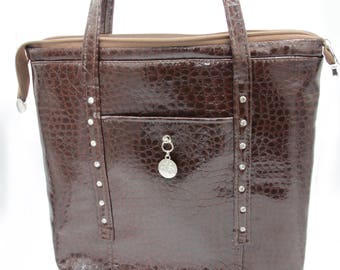 Faux Leather Tote Bag - Brown, Crocodile, Shiny, handcrafted