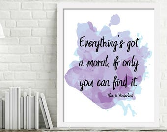 Printable Alice in Wonderland Quote, Moral Watercolor Wall Art, Kids Book Art Print, Printable quotes about life