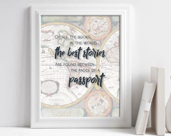 Travel Quote Poster, Travel Quote Printable, Travel Art Print, Travel Inspiration Art, Printable Wanderlust Art, Travel Wall Art