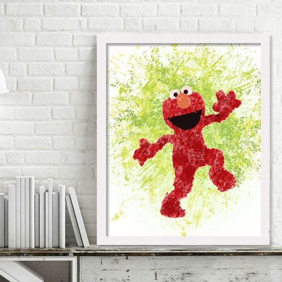 Elmo Watercolor Wall Art Watercolor Elmo Print Sesame Street