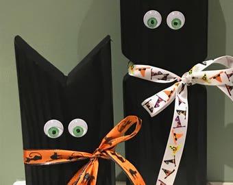 Wooden black cat Halloween Decorations