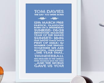 52 years old, 52nd birthday gift, 52nd present, personalised 52nd print