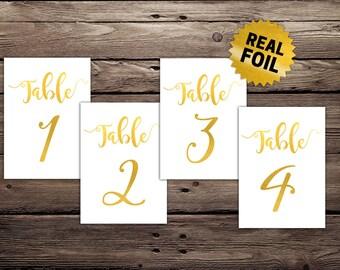 Gold Foil Wedding Table Number, Real Foil Prints, 5x7 wedding Table Number, Foil Printed Number, Wedding Decoration, Foil Card,