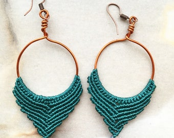 Gemstone Macrame Boho Hoop Handmade Earrings, Tribal Earrings, Festival Earrings, Gypsy Earrings, Hippie Earrings, Goa Copper Gift Psytrance