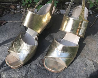 Italian Gold Leather Sandals