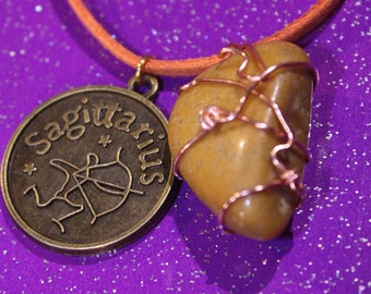Mustard Quartz Tumblestone Sagittarius Zodiac Charm Faux Suede Handmade Copper Wrapped Slip Knot Vegan Necklace