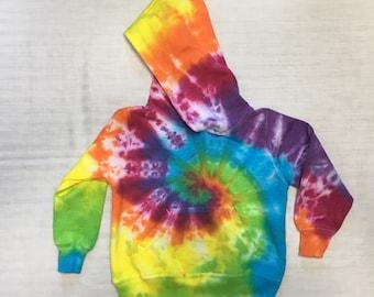 Handmade Rainbow Tie Dye Toddler Hoodie