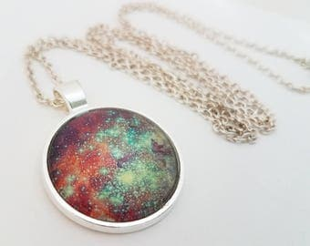 Galaxy Necklace Glass Cabochon Jewelry Nebula Pendant Pink Purple Turquoise Photo Space Stars